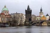 View on the winter Prague Old Town above River Vltava, Czech Republic