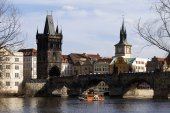 Spring Prague City with with its Towers and Bridges in the sunny Day, Czech Republic