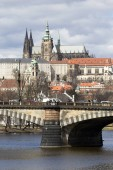 View on the spring Prague City above River Vltava, Czech Republic