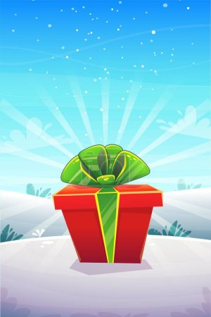 Illustration for Big red gift box with ribbon bow at winter snow nature outside forest or park background , vertical poster greeting card event design , vector illustration - Royalty Free Image