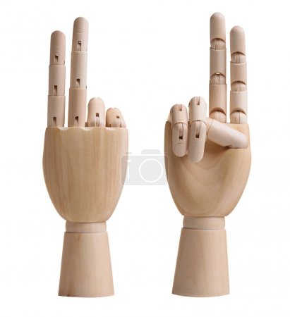 Photo for Wooden hands showing two by fingers. Isolated on white background - Royalty Free Image