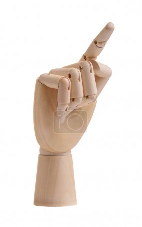 Photo for Wooden hand with finger points up isolated - Royalty Free Image