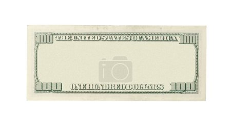 Photo for Back of blank 100 dollar banknote isolated on white background - Royalty Free Image