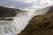 Landscape with big majestic Gullfoss waterfall in mountains in I