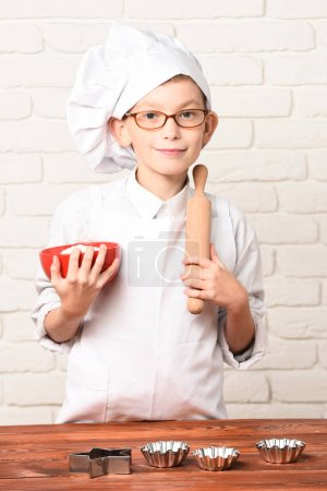 smiling boy cute cook chef