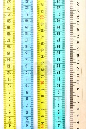 Variety of different rulers, lying in parallel
