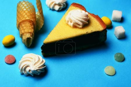 Slice of pie with sweets