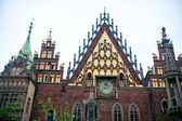 Clock on town hall house in wroclaw, poland