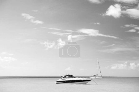 Photo for Luxury yacht on tropical sea. luxury vacation concept, st.johns antigua - Royalty Free Image