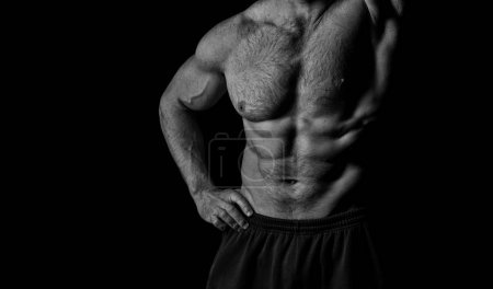 Photo for Athletic belly and muscular chest. Torso with six pack and ab muscles. Arm with strong biceps and triceps. Workout and training activity in gym. Sport fitness and wellness concept, black and white. - Royalty Free Image