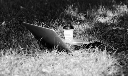 Photo for Coffee break outdoors. Summer park. Work and relax in natural environment. Green office. Its coffee time. Coffee take away. Laptop modern smartphone with earphones and coffee cup on green grass. - Royalty Free Image