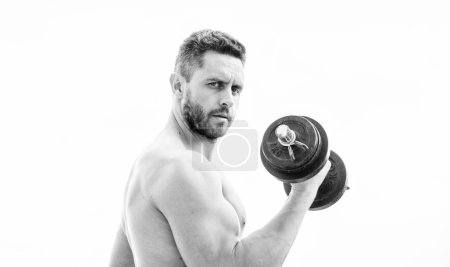 Photo for Fitness and bodybuilding sport. Gym workout concept. Dumbbell exercise gym. Muscular man exercising with dumbbell. Price of greatness is responsibility. Sportsman with strong torso. Gym equipment. - Royalty Free Image