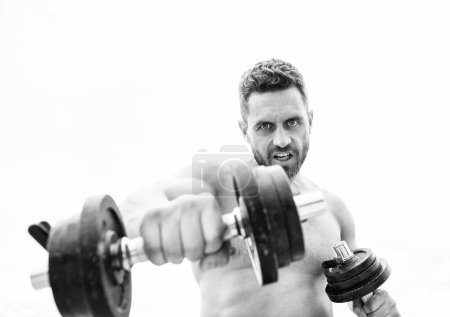 Photo for Winning is habit. Success is choice. Dumbbell exercise gym. Muscular man exercising with dumbbell. Sportsman with strong torso. Sport equipment. Fitness and bodybuilding sport. Sport lifestyle. - Royalty Free Image
