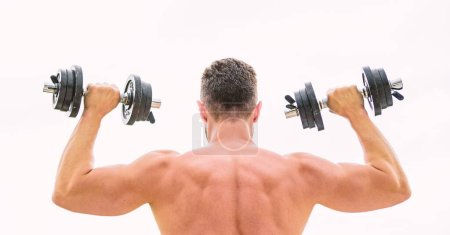 Photo for Fit your body and lose weight. Muscular back man exercising in morning with barbell. athletic body. Dumbbell gym. fitness and sport. Mind and body in harmony. man sportsman weightlifting. steroids. - Royalty Free Image