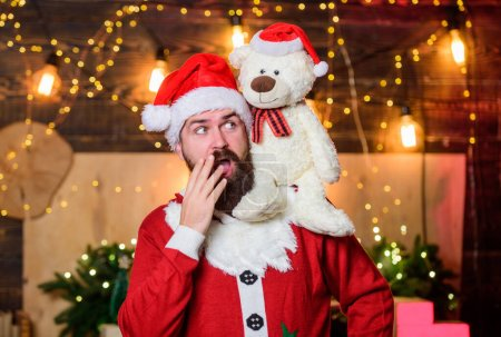 Photo for Spread joy happiness. Celebrate new year. Winter fundraising ideas. Kindness and generosity. Charity for kids. Man bearded Santa claus play soft toy teddy bear. Christmas charity. Charity help. - Royalty Free Image