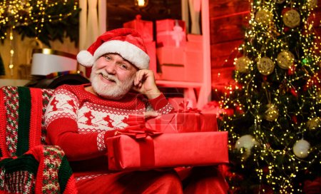 Photo for Incredible time while shopping. winter holiday shopping. party celebration. presents from santa. bearded man go shopping. xmas gifts. happy new year. Secret santa. gift for Christmas. Merry christmas. - Royalty Free Image