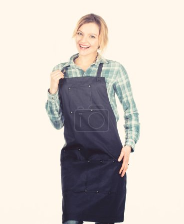 Photo for Gender stereotype. Cook with passion for family. Woman in kitchen apron. Preparation and culinary. Family weekend. food cooking recipe. Picnic barbecue. Pretty girl in chef apron. - Royalty Free Image