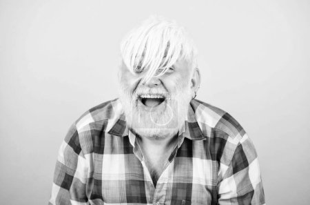 Photo for Artificial hair. Health care concept. Male pattern baldness genetic condition caused by variety factors. Early signs balding. Elderly people. Bearded grandfather grey hair. Hair loss. Man losing hair. - Royalty Free Image