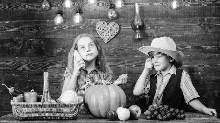 Photo pour Enfants agriculteurs fille garçon récolte de légumes. Enfants présentant récolte agricole fond en bois. Ferme familiale. Raisons pour lesquelles chaque enfant devrait expérimenter l'agriculture. Responsable des tâches quotidiennes de la ferme . - image libre de droit