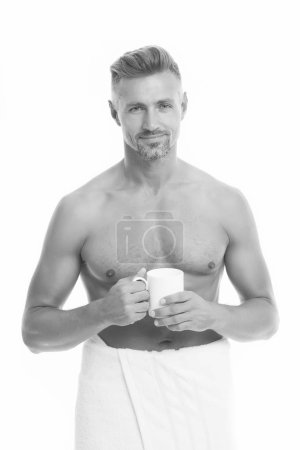 Photo for Morning chill out. Enjoying his cappuccino. Man drink coffee or tea. Mature man hold paper coffee cup stand white background. Guy casual outfit drinking coffee. Delicious fresh coffee concept. - Royalty Free Image