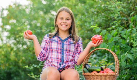 Photo for Eat healthy. Summer harvest concept. Organic harvest. Healthy lifestyle. Kid gathering vegetables nature background. Healthy homegrown food concept. Girl cute smiling child living healthy life. - Royalty Free Image