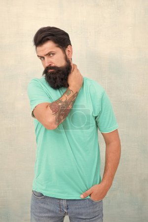 Photo for This is what man wants to look like. Bearded man. Hipster isolated on white. Caucasian man with long mustache and beard hair. Brutal man with stylish haircut in casual style. - Royalty Free Image