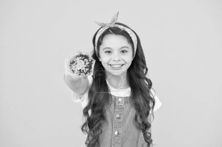 Photo for Happy childhood. Bakery confectionery concept. Kid girl hold muffin. Delicious cupcakes. Little child with muffin on yellow background. Treat someone with sweets. Yummy cupcake. Homemade muffin. - Royalty Free Image