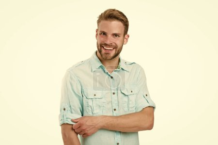 Photo for Genuine smile of a cheerful guy. Happy guy isolated on white. Bearded guy smiling in casual summer style. Caucasian handsome guy with sexy smile on bearded face and stylish blond hair. - Royalty Free Image