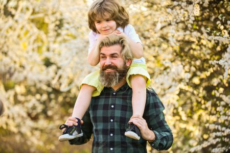 Photo for Earth day. Little boy and father in nature background. Hipster and baby son. Happiness concept. Spring walk. Ecology and environment. Simple happiness. Happy family. Fatherhood happiness. Fathers day. - Royalty Free Image