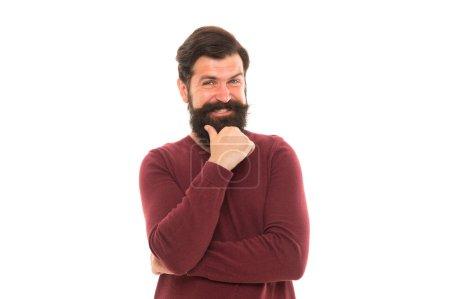 Photo pour Homme coiffure élégante et la prise de décision barbe. Concept d'homme d'affaires. Homme mûr attrayant. L'homme barbu réfléchit. Une bonne décision demande du temps. Perdu dans ses pensées. Processus cognitif. Travaux intellectuels. - image libre de droit