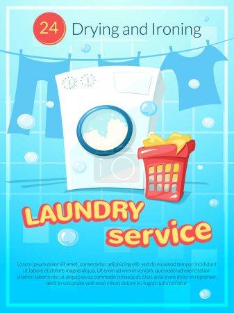 Illustration pour Service de blanchisserie affiche, illustration vectorielle - image libre de droit