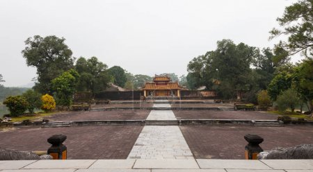 Vietnam, Hue. The Hien Duc Mon entrance gates leads to the large court intended for the imperial ceremonies with in the center of Venerated Benefits Temple after the Salutation Court and Stele House at Imperial Minh Mang Tomb complex.