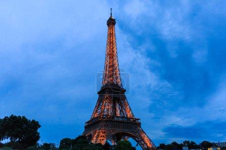 Tour Eiffel at Twilight, Eiffel Tower in Paris, France.