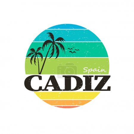 Illustration for Cadiz palm badge stamp on white background in editable vector file. - Royalty Free Image