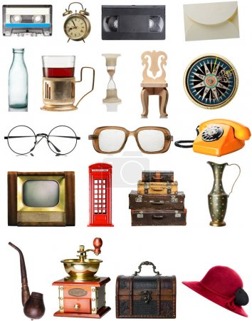 Vintage items isolated on white