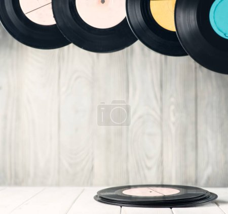 Vinyl discs on the table