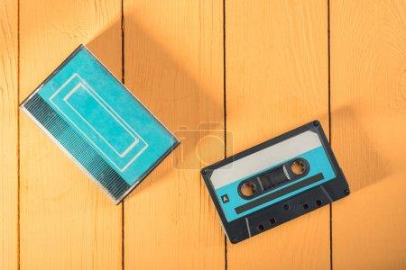 Blue audio cassette