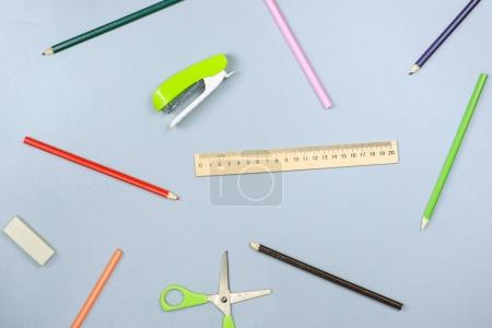 Photo for School supplies on grey background. Top view - Royalty Free Image