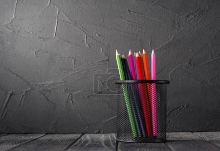 Color pencils in pencil cup