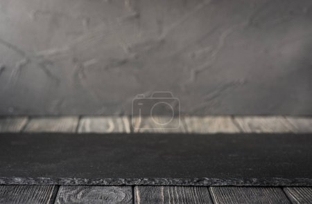 Slate plate on table
