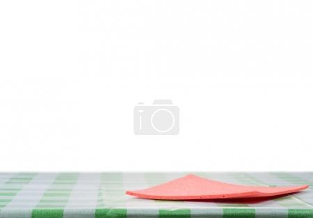 Red napkin on the table
