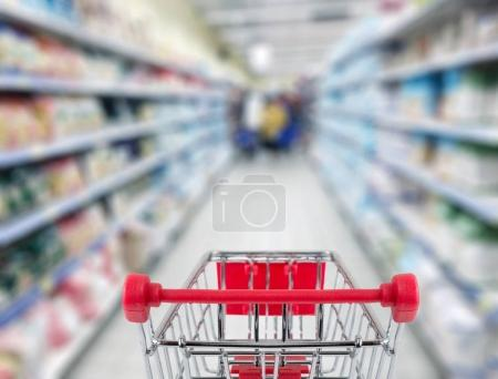 Shopping cart in shop