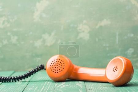 Photo for Retro Orange Handset, close up - Royalty Free Image
