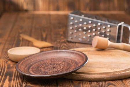 Cookware on wooden  table, close up