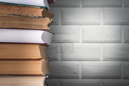 Stack of books, close up. Education concept