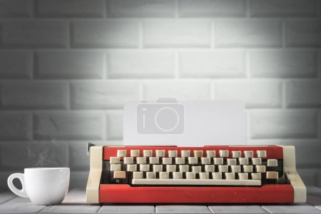The typewriter and coffee, close up