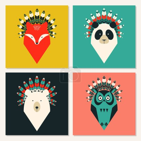 Illustration for Set of cute cards with animals with feathers - Royalty Free Image