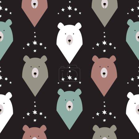 Bear seamless pattern with stars