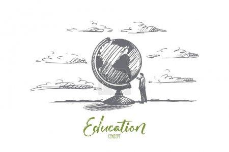 Illustration pour Concept d'éducation. Un homme dessiné à la main près du globe. Illustration vectorielle isolée du symbole Personne près de la Terre . - image libre de droit