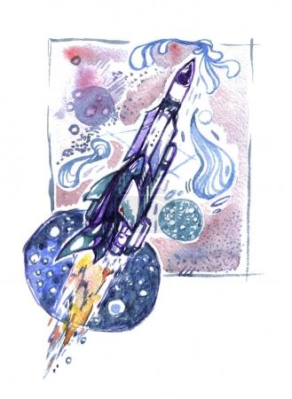 Watercolor hand drawn illustration with a spaceship. The rocket in the abstract night sky.